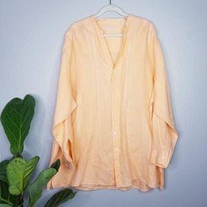 Caribbean peach roll tab linen button up shirt